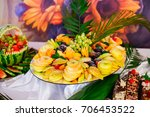 colorful fruits laying on the... | Shutterstock . vector #706453522