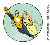 flying superhero holding...   Shutterstock .eps vector #706453792