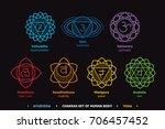 chakras system of human body  ... | Shutterstock .eps vector #706457452