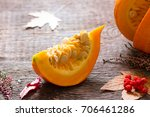 autumn pumpkin and leaves on... | Shutterstock . vector #706461286