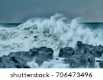 turbulent waves of pacific... | Shutterstock . vector #706473496