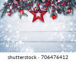 christmas decoration with star... | Shutterstock . vector #706476412