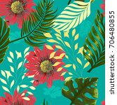 seamless tropical pattern with... | Shutterstock .eps vector #706480855