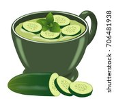 a cold cucumber soup. in a... | Shutterstock .eps vector #706481938