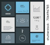 set of 8 tailor outline icons... | Shutterstock .eps vector #706496785