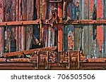 Old Train Boxcar Door Wood...