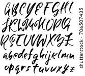 hand drawn dry brush font.... | Shutterstock .eps vector #706507435