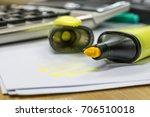 green highlighter on white... | Shutterstock . vector #706510018