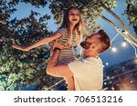 handsome man with his little... | Shutterstock . vector #706513216