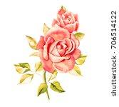 watercolor pink roses. bouquet...   Shutterstock . vector #706514122