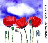 Three Red Poppies On Deep Blue...