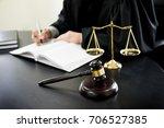gavel and soundblock of justice ...   Shutterstock . vector #706527385