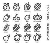 Fruit Thin Line Icon Set Vector ...
