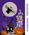 halloween candies in pumpkin... | Shutterstock .eps vector #706532545