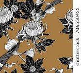 koi fish and chrysanthemum... | Shutterstock .eps vector #706550422