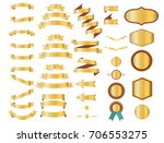 gold ribbons  waving flags or... | Shutterstock .eps vector #706553275