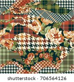 houndstooth tartan and roses... | Shutterstock .eps vector #706564126