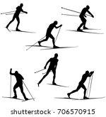 set skiing athletes skiers...   Shutterstock .eps vector #706570915