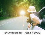 woman traveler sitting in car... | Shutterstock . vector #706571902