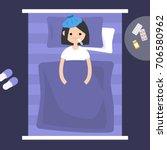 sick brunette girl lying under... | Shutterstock .eps vector #706580962