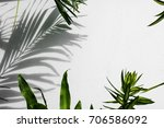 shadow of palm coconut leaves... | Shutterstock . vector #706586092