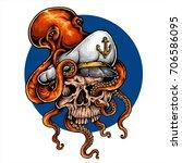 vector illustration of octopus... | Shutterstock .eps vector #706586095