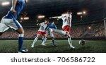 soccer player performs an... | Shutterstock . vector #706586722