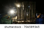nigh time construction  | Shutterstock . vector #706589365