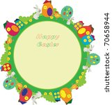 easter card with rabbits and... | Shutterstock .eps vector #70658944