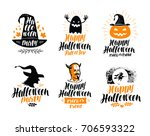 happy halloween  lettering.... | Shutterstock .eps vector #706593322