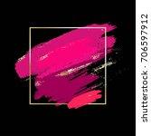 pink and golden brush strokes...   Shutterstock .eps vector #706597912