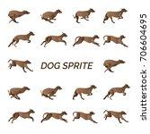 Stock vector the dog running sprite 706604695
