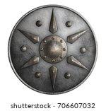 metal medieval round shield... | Shutterstock . vector #706607032