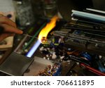 warm flame used by the vetraio...   Shutterstock . vector #706611895