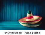 mexican hats on a wooden... | Shutterstock . vector #706614856