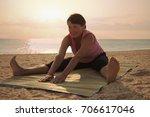 mature woman doing gymnastic...   Shutterstock . vector #706617046