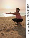 mature woman doing gymnastic...   Shutterstock . vector #706617136
