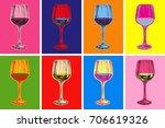 wine glass hand drawing vector...   Shutterstock .eps vector #706619326