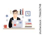 stressed busy young businessman ... | Shutterstock .eps vector #706626748