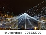 outdoor christmas lights... | Shutterstock . vector #706633702