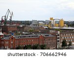 warehouses and cranes dominate...   Shutterstock . vector #706662946