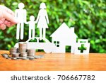 coins pile on table for concept ...   Shutterstock . vector #706667782