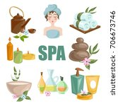 spa body relax and woman... | Shutterstock .eps vector #706673746