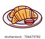 fresh soft croissants on plate...   Shutterstock .eps vector #706673782