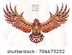 patterned flying eagle on the... | Shutterstock .eps vector #706675252