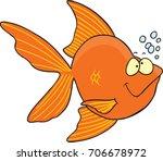 cartoon happy goldfish with... | Shutterstock .eps vector #706678972
