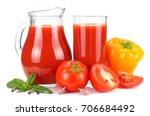 tomato juice in glass jug... | Shutterstock . vector #706684492