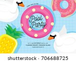 floats summer pool party... | Shutterstock .eps vector #706688725
