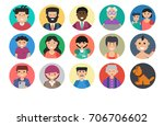 set of people faces   round... | Shutterstock . vector #706706602