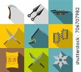 Ninja Tools Icon Set. Flat...